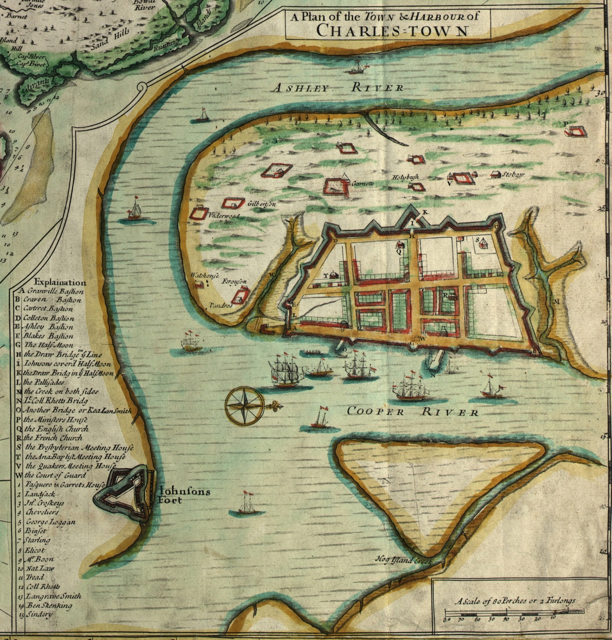 Viewing the image of full Crisp Map above, you'll notice that the image of  Charleston (Charles Town) is just one of several small insets, ...