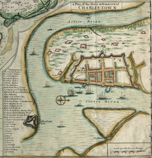 "A portion of the ""Crisp Map"" of 1711, showing urban ""Charles Town."""