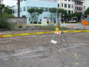 The asphalt surface of the parking lot was removed on 28 May 2009