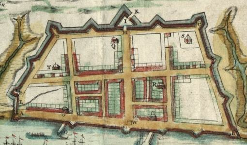 "Detail from the 1711 ""Crisp Map"" of Charles Town"