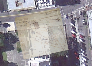 A 1789 plat of Craven's Bastion superimposed on a recent satellite image of the U.S. Custom House on East Bay Street, showing the approximate size and location of the bastion.