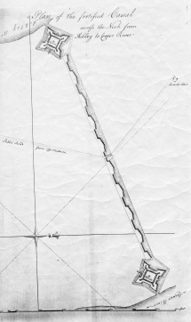 De Brahm's ca. 1755 plan included a fortified canal connecting the Ashley and Cooper Rivers