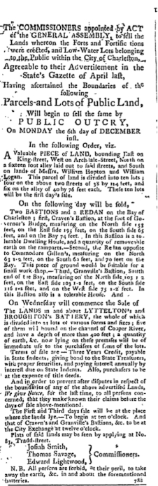 1784 newspaper notice for sale of fortifications in Charleston