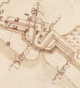 A 1757 illustration of Lyttelton's Bastion by its designer, William De Brahm