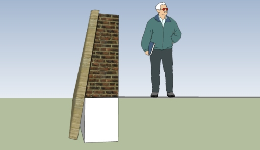 The brick seawall stood five feet above ground, on top of a Bermuda stone foundation, and was faced with split palmetto logs. Drawing by Nic Butler