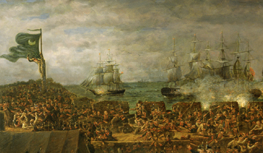 Detail from J. B. White's 1826 painting of the Battle of Fort Moultrie (collections of the U.S. Senate)