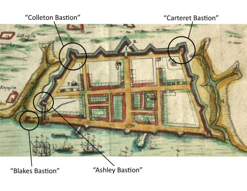 A close-up view of the map of Charles Town published in 1711 by Edward Crisp, highlighting the