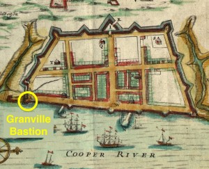 "Granville Bastion highlighted on the ""Crisp Map"" of 1711"